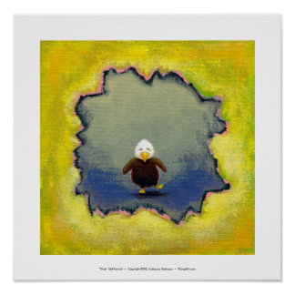 Bald eagle art wobbly baby learning empowerment poster