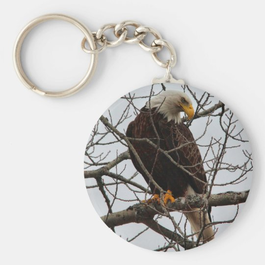 Bald Eagle Basic Round Button Key Ring