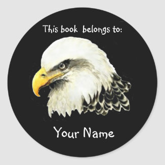 Bald Eagle Bird, This book belongs Bookplate Classic Round Sticker