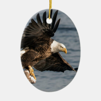 Bald Eagle Catching Food Christmas Ornament