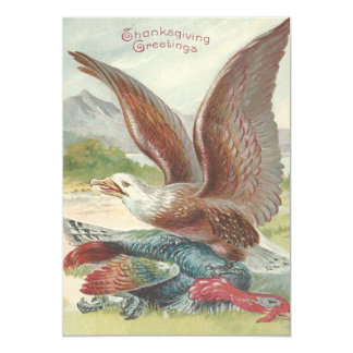 Bald Eagle Catching Thanksgiving Turkey 13 Cm X 18 Cm Invitation Card