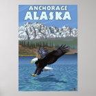 Bald Eagle Diving - Anchorage, Alaska Poster