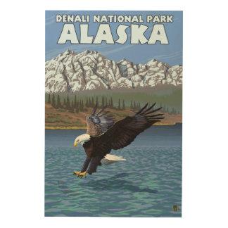 Bald Eagle Diving - Denali National Park, Alaska Wood Wall Decor