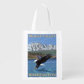 Bald Eagle Diving - Skagit Valley, Washington Reusable Grocery Bag