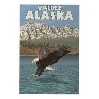 Bald Eagle Diving - Valdez, Alaska Wood Print