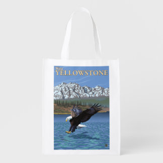 Bald Eagle Diving - West Yellowstone, MT Reusable Grocery Bag