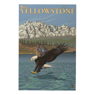 Bald Eagle Diving - West Yellowstone, MT Wood Wall Decor