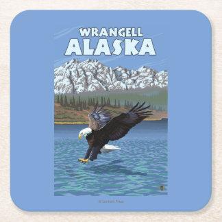 Bald Eagle Diving - Wrangell, Alaska Square Paper Coaster
