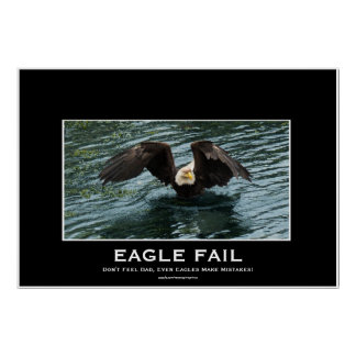 Bald Eagle Fishing Fail Demotivational Photo Print