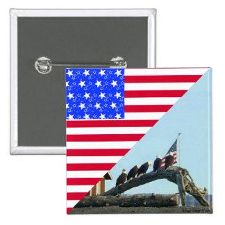 Bald Eagle Freedom Flag Design Pin