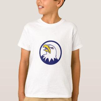 Bald Eagle Head Angry Looking Up Circle Cartoon T-Shirt