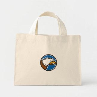 Bald Eagle Head Screaming Circle Retro Mini Tote Bag