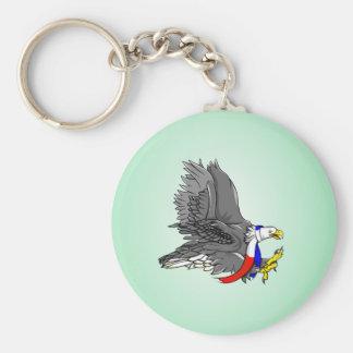Bald Eagle Hunting Prey USA Scarf Basic Round Button Key Ring