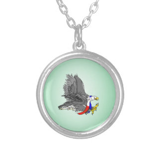Bald Eagle Hunting Prey USA Scarf Round Pendant Necklace