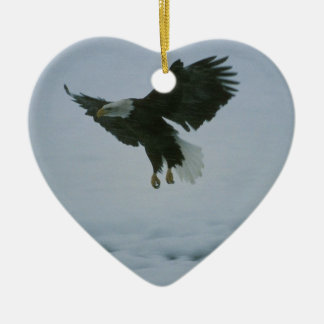 bald eagle in flight ceramic heart decoration