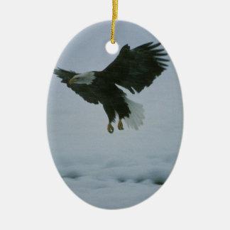 bald eagle in flight ceramic oval decoration