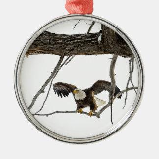 Bald Eagle in Flight Silver-Colored Round Decoration