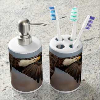 Bald Eagle in flight Soap Dispenser And Toothbrush Holder