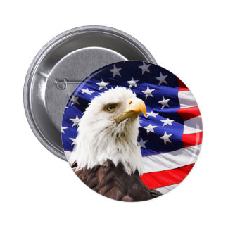 Bald Eagle in Front of American Flg 6 Cm Round Badge