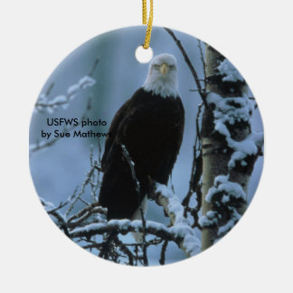 Bald Eagle in winter snow Christmas Ornament