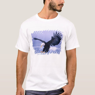 Bald Eagle Landing Wings Spread in a Storm, T-Shirt