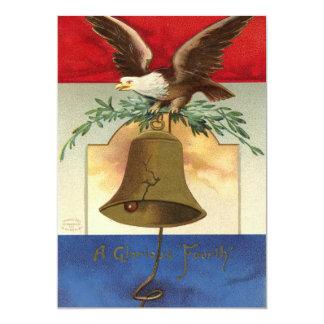 bald eagle liberty bell patriotic vintage art 5x7 paper invitation card