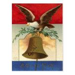 bald eagle liberty bell patriotic vintage art postcard