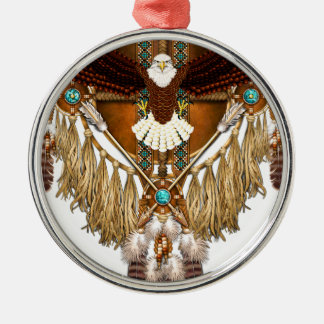 Bald Eagle Mandala - revised Silver-Colored Round Decoration