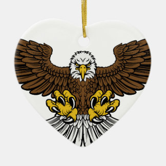 Bald Eagle Mascot Ceramic Heart Decoration