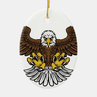 Bald Eagle Mascot Ceramic Oval Decoration