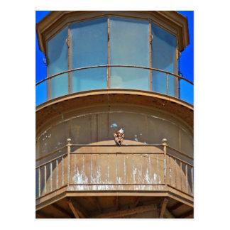 Bald Eagle on Lighthouse Rail Post Card