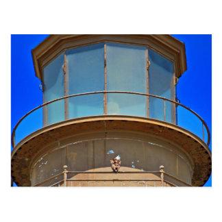 Bald Eagle on Lighthouse Rail Postcard