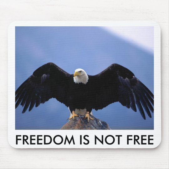BALD EAGLE ON ROCK, FREEDOM IS NOT FREE MOUSE MAT