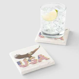 Bald eagle on the flag stone coaster