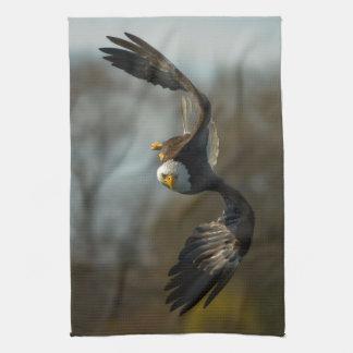 Bald Eagle on the Hunt Tea Towel