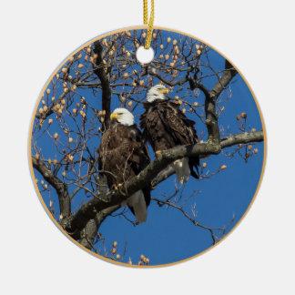 Bald Eagle Pair Christmas Ornament