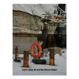 Bald Eagle Perched on a Life Ring Station Poster
