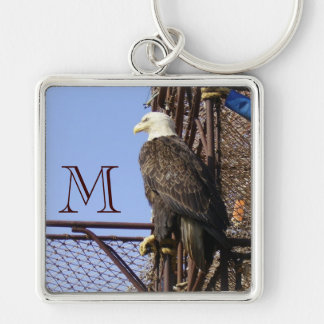 Bald Eagle Perched on Crab Pots Silver-Colored Square Key Ring