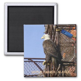 Bald Eagle Perched on Crab Pots Square Magnet