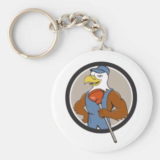 Bald Eagle Plumber Plunger Circle Cartoon Basic Round Button Key Ring