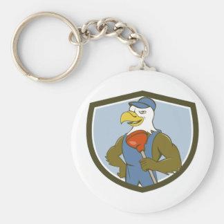 Bald Eagle Plumber Plunger Crest Cartoon Basic Round Button Key Ring