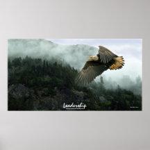 Bald Eagle & Rainforest LEADERSHIP Art Poster
