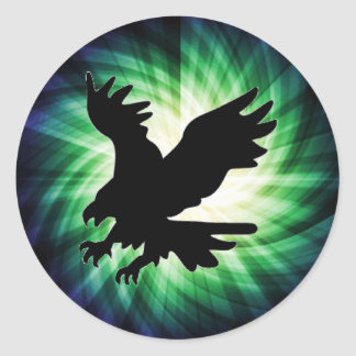 Bald Eagle Silhouette; Cool Classic Round Sticker