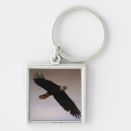 Bald Eagle Silver-Colored Square Key Ring