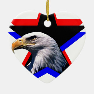 Bald eagle & the three star ceramic heart decoration