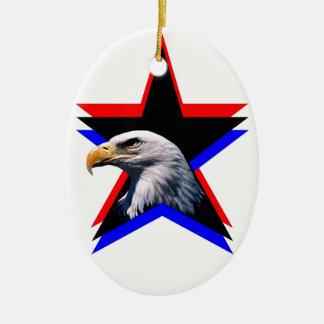 Bald eagle & the three star ceramic oval decoration