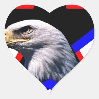Bald eagle & the three star heart sticker