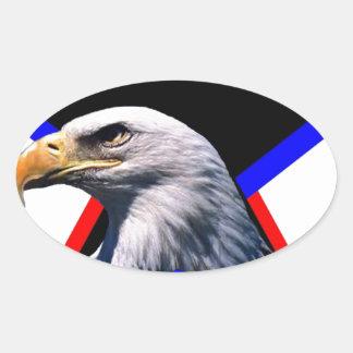 Bald eagle & the three star oval sticker