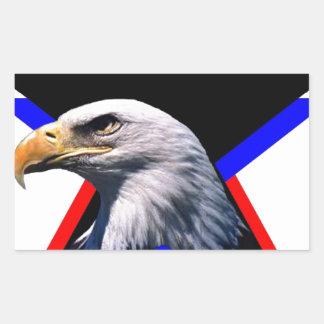 Bald eagle & the three star rectangular sticker