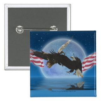 BALD EAGLE & US FLAG Patriot Series Button